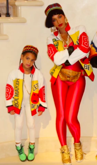 """<p>A few nights earlier, mom and kiddo had a different group costume. At 4, Blue Ivy Carter probably hadn't heard of Salt-N-Pepa until Bey handed her this """"Push It""""-era ensemble. Nonetheless, <a rel=""""nofollow"""" href=""""https://www.yahoo.com/celebrity/see-beyonce-and-blue-ivy-get-into-costume-as-salt-n-pepa-for-halloween-oooh-baby-baby-164151954.html"""">they slayed</a> hard. (Photo: <a rel=""""nofollow"""" href=""""https://www.instagram.com/p/BMNlfPphiT_/?taken-by=beyonce&hl=en"""">Instagram</a>) </p>"""
