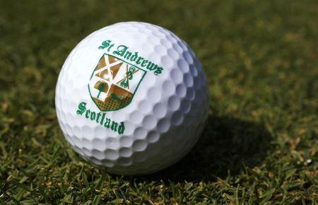 A St. Andrews souvenir golf ball is seen on a golf course in London June 11, 2014. REUTERS/Suzanne Plunkett
