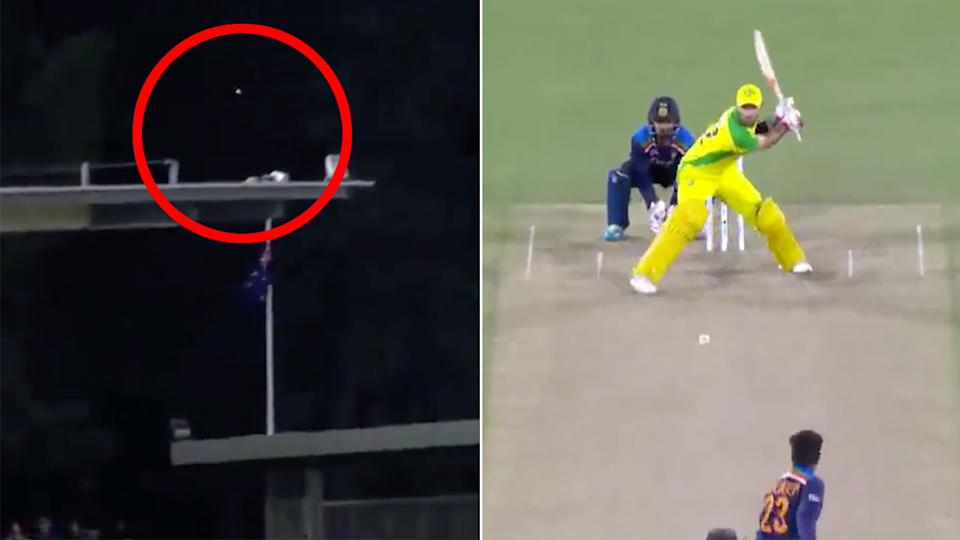 Seen here, Glenn Maxwell belted a massive switch-hit for six at Manuka Oval.