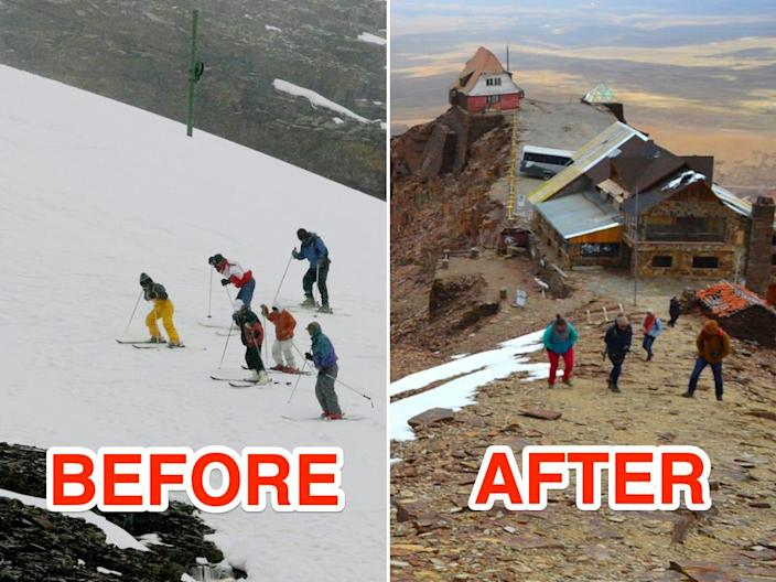 before and after images of the Chacaltaya mountain showcasing the melted snow