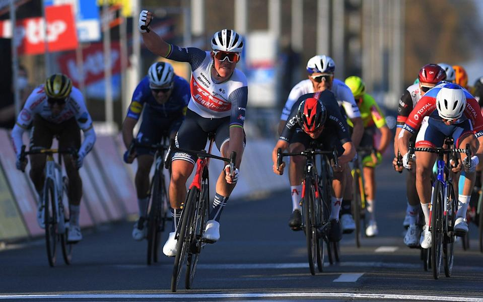 Mads Pedersen — Tom Pidcock completes superb weekend for young Britons after Mads Pedersen takes win at Kuurne-Brussels-Kuurne - GETTY IMAGES