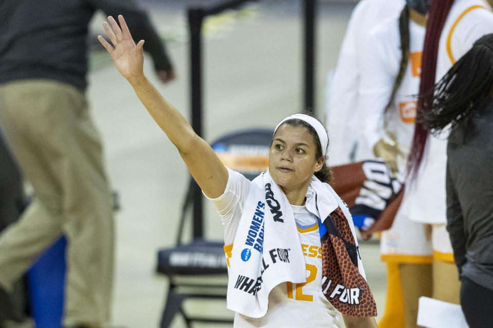 Tennessee guard Rae Burrell waves towards the stands as she celebrates a win over Middle Tennessee State during a college basketball game in the first round of the women's NCAA basketball tournament at the Frank Erwin Center in Austin, Texas, Sunday, March 21, 2021. (AP Photo/Stephen Spillman)