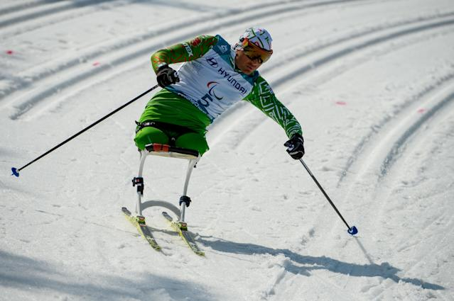 Dzmitry Loban BLR competes in the Cross-Country Skiing Sitting Men's 1.1km Sprint at the Alpensia Biathlon Centre. The Paralympic Winter Games, PyeongChang, South Korea, Wednesday 14th March 2018. OIS/IOC/Thomas Lovelock/Handout via REUTERS