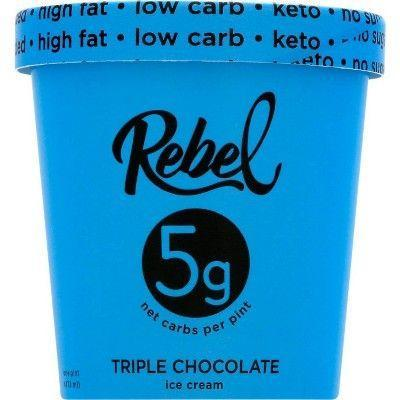 """<p><strong>Rebel Ice Cream</strong></p><p>target.com</p><p><strong>$5.29</strong></p><p><a href=""""https://www.target.com/p/rebel-ice-cream-triple-chocolate-ice-cream-16oz/-/A-80145307"""" rel=""""nofollow noopener"""" target=""""_blank"""" data-ylk=""""slk:Shop Now"""" class=""""link rapid-noclick-resp"""">Shop Now</a></p><p>This low-carb, high-fat pint piles on the fudgy flavor with heaps of chocolate flakes. Chicory root fiber, monk fruit, egg yolks, and butter are some of the more natural ingredients, along with the sugar alcohol erythritol.</p><p><em>Per 2/3 cup: 190 cals, 18g fat; 19g total carbs; 0 total sugar, 0 added sugar; 11g sugar alcohol; 3g protein</em></p>"""