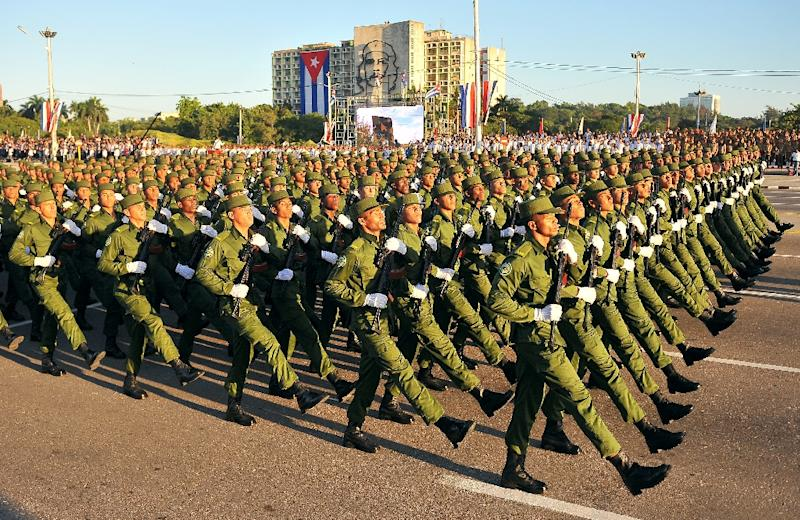 Cuban troops participate in a military parade in honor of recently deceased revolutionary leader Fidel Castro, at Revolution Square in Havana, on January 2, 2017