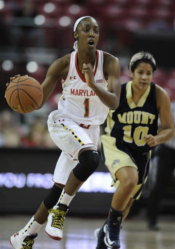 Maryland' Laurin Mincy runs the ball upcoourt as Mount St. Mary's Selina Mann pursues during the first half of an NCAA college basketball game, Friday, Nov. 9, 2012 in College Park, Md. (AP Photo/Gail Burton)