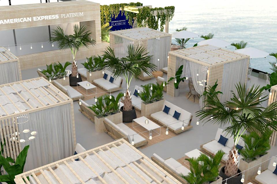 The cabanas and lounge at the American Express Platinum Coast