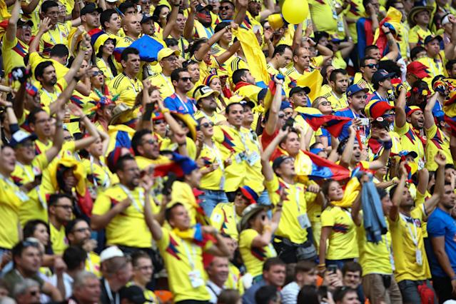 Fans of Columbia celebrate during the 2018 FIFA World Cup Russia group H match between Colombia and Japan at Mordovia Arena on June 19, 2018 in Saransk, Russia. (Getty Images)