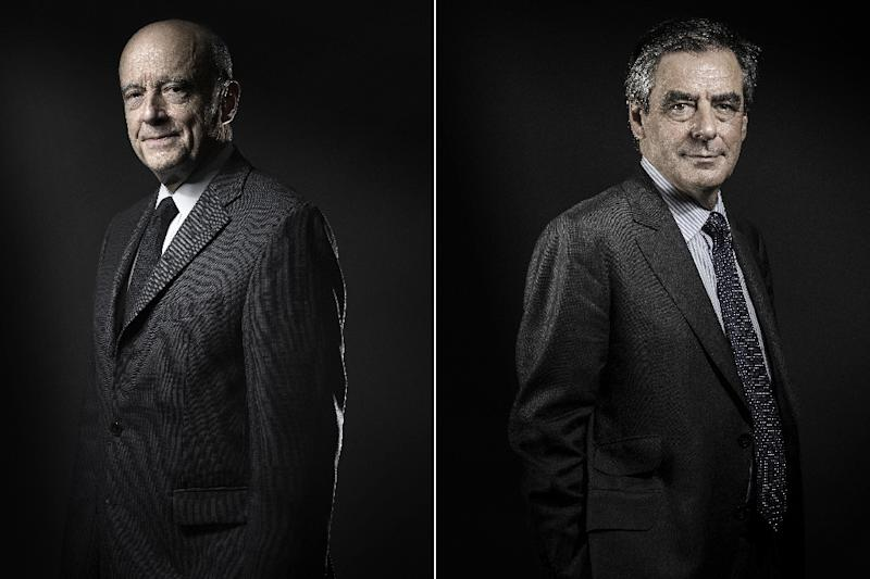 Alain Juppe (L) and Francois Fillon will go head-to-head in a run-off of France's rightwing presidential primary