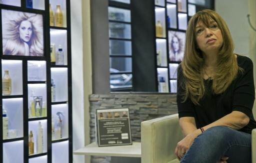 Hair stylist Monica Pesce, in her salon in the Buenos Aires suburb of Belgrano, on June 23, 2018