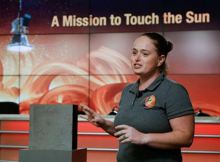 Betsy Congdon, Parker Solar Probe Thermal Protection System lead engineer at APL speaks during a preview briefing on the NASA's Parker Solar Probe at NASA's Kennedy Space Center in Florida, U.S., July 20, 2018.   REUTERS/Mike Brown