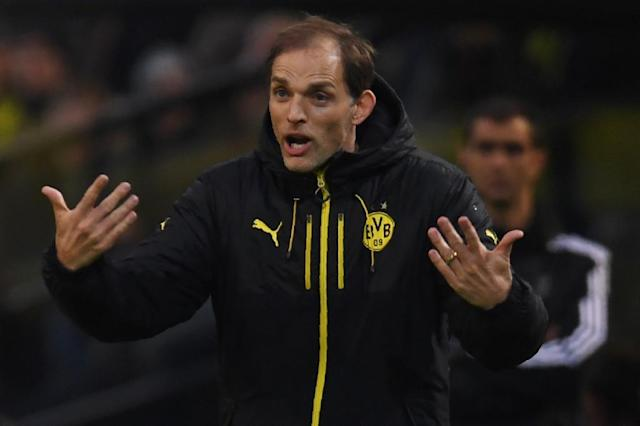 Dortmund's head coach Thomas Tuchel reacts from the sidelines during the UEFA Champions League 1st leg quarter-final football match against Monaco in Dortmund, western Germany on April 12, 2017 (AFP Photo/PATRIK STOLLARZ)