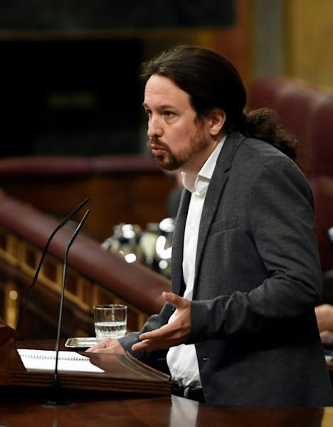 """Pablo Iglesias, who heads the radical leftwing Podemos, has proposed a """"temporary coalition government"""" but the idea was laughed off by a government spokeswoman"""
