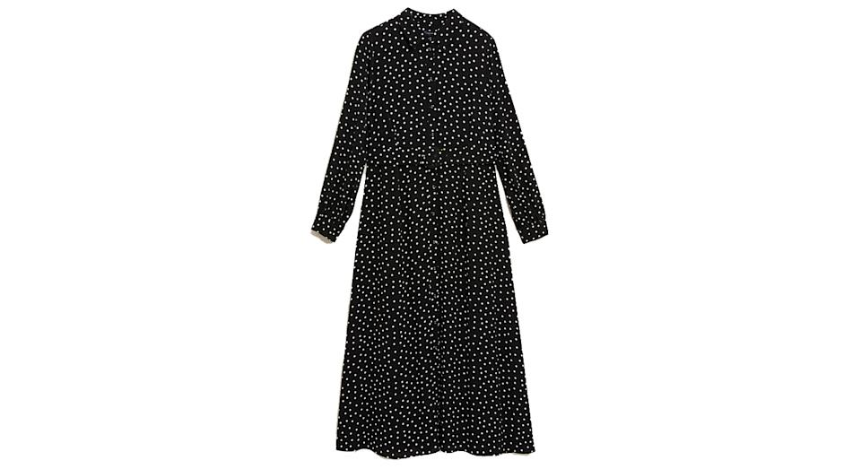 Polka Dot Belted Midaxi Shirt Dress
