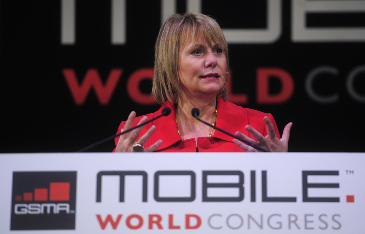 Chief executive officer of Yahoo Carol Bartz speaks at the Mobile World congress in Barcelona, Spain, Wednesday, Feb. 16, 2011. The Mobile World Congress will be held from Feb. 14-17.