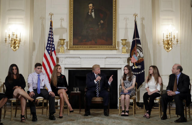 President Trump hosts a listening session with high school students and teachers in the State Dining Room of the White House in Washington, D.C., on Feb. 21, 2018. (Photo: AP/Carolyn Kaster)