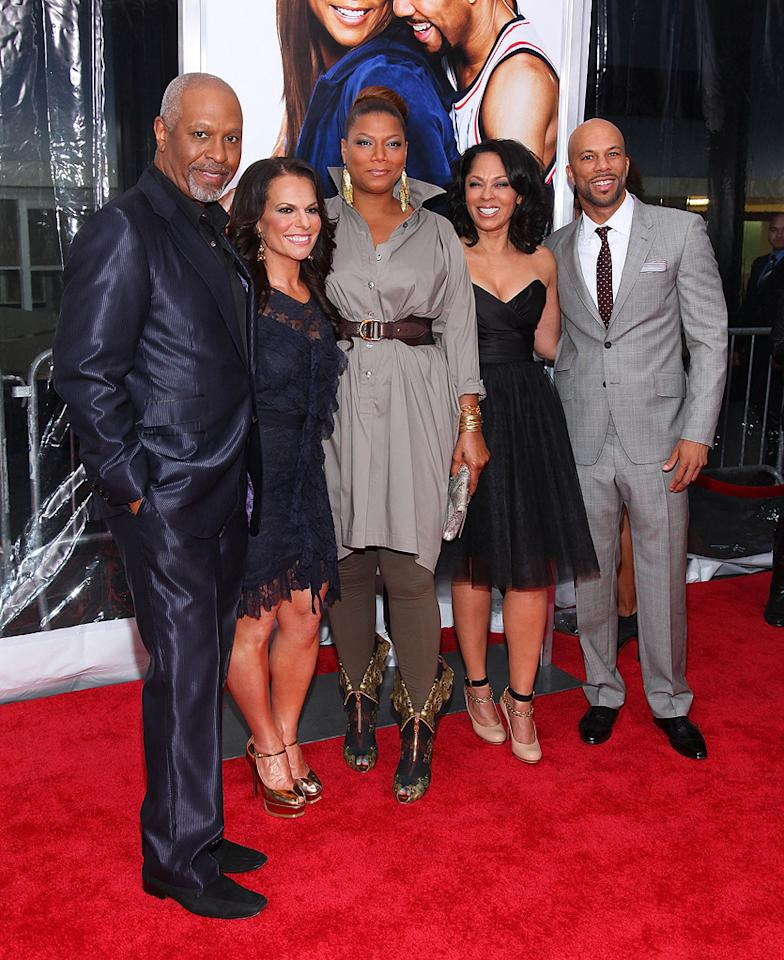 """<a href=""""http://movies.yahoo.com/movie/contributor/1800248056"""">James Pickens Jr.</a> director <a href=""""http://movies.yahoo.com/movie/contributor/1808719747"""">Sanaa Hamri</a>, <a href=""""http://movies.yahoo.com/movie/contributor/1800019133"""">Queen Latifah</a>, Debra Martin and <a href=""""http://movies.yahoo.com/movie/contributor/1801929114"""">Common</a> at the New York City premiere of <a href=""""http://movies.yahoo.com/movie/1810088527/info"""">Just Wright</a> - 05/04/2010"""