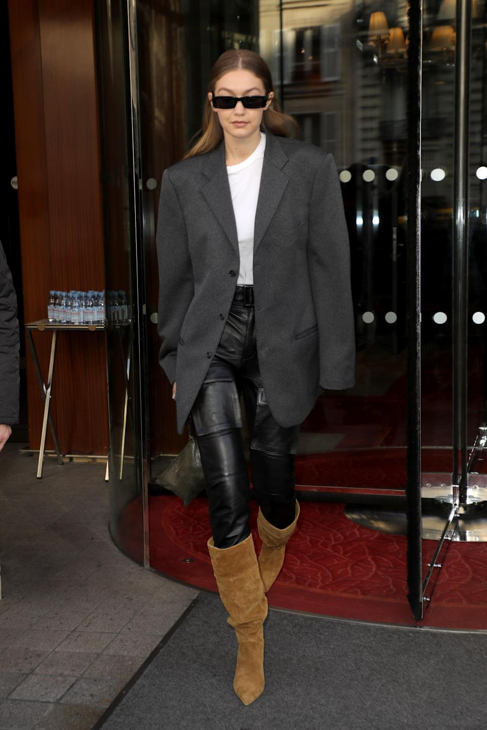Another blazer plus pleater combo that gets an upgrade with the addition of tan boots.