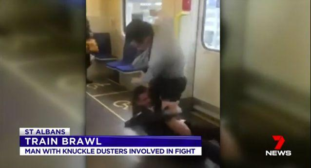 One of the men was believed to be wearing knuckle-dusters. Source: 7 News