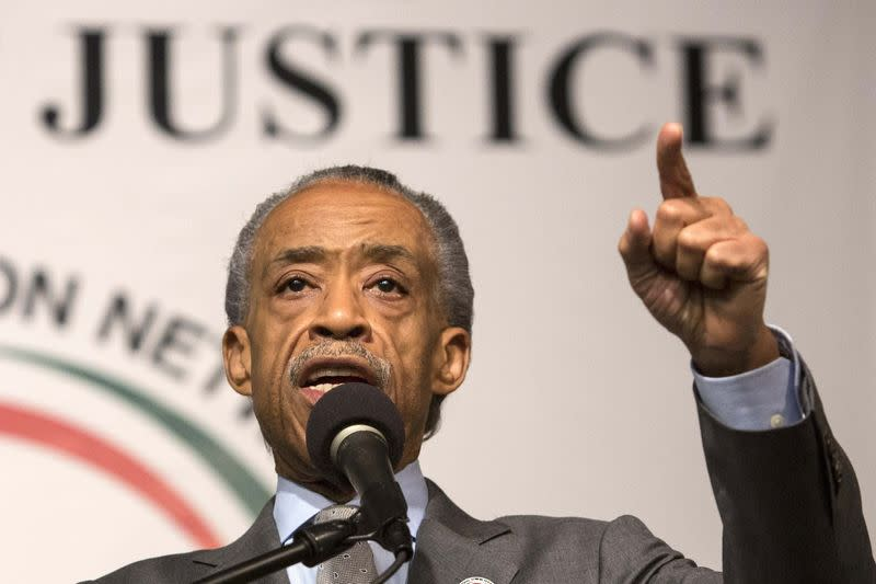 Reverend Al Sharpton announces a march against police violence on December 13 in Washington DC at Reverend Sharpton's National Action Network House of Justice in New York