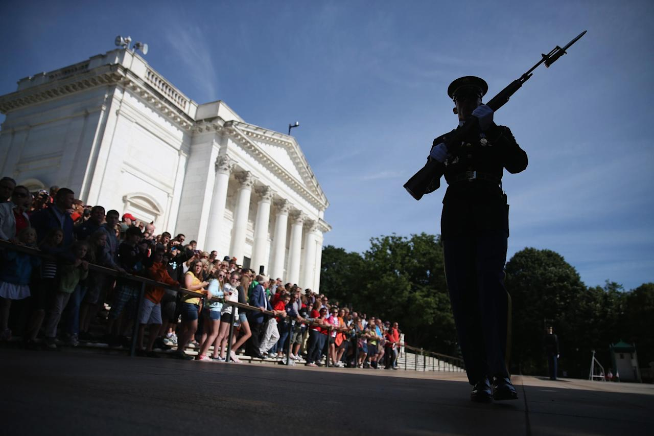 ARLINGTON, VA - MAY 27:  A member of the U.S. Army Old Guard stands guard at the Tomb of the Unknowns at Arlington National Cemetery on May 27, 2013 in Arlington, Virginia. For Memorial Day President Obama is paying tribute to military veterans past and present who have served and sacrificed their lives for their country.  (Photo by Mark Wilson/Getty Images)