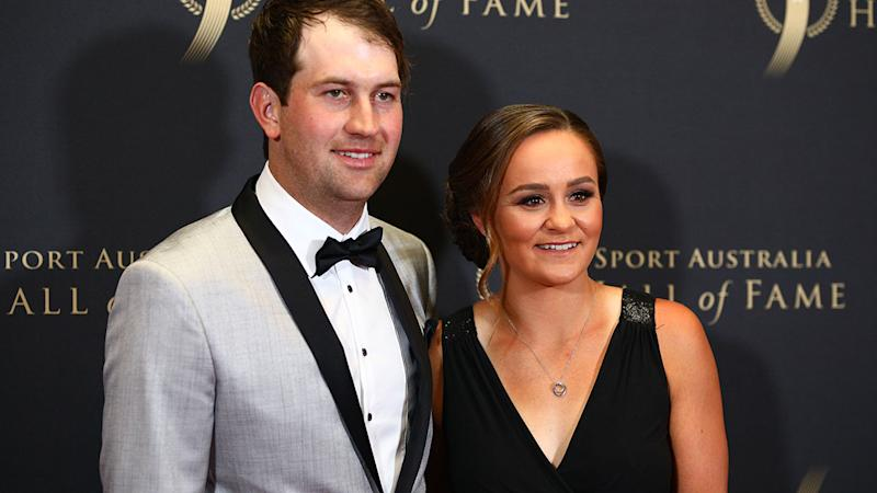 Ashleigh Barty, pictured here with partner Garry Kissick.