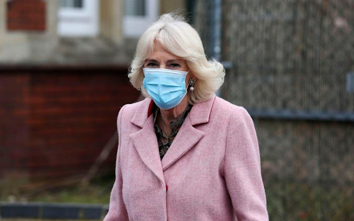The Duchess of Cornwall leaves after visiting the Community Vaccination Centre at St Paul's Church, Croydon, where she thanked NHS staff and church representatives supporting the UK vaccination rollout