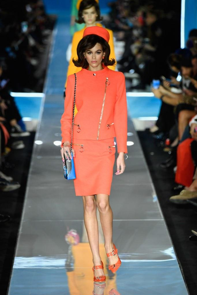Kaia Gerber walks on the runway at the Moschino show during Milan Fashion Week on February 21, 2018 in Milan, Italy. Photo courtesy of Getty Images.