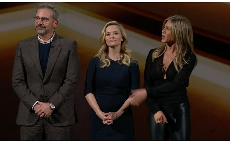"Steve Carell, Reese Witherspoon and Jennifer Aniston talk about their Apple TV Plus show called ""The Morning Show."" (image: Apple)"