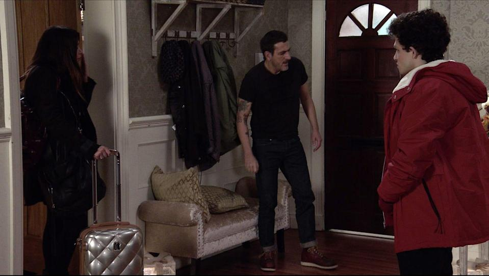 <p>He tells Carla that she's no longer welcome. </p>