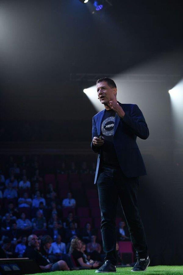 Steve Vamos, CEO of Xero, addressing 3500 accountants and bookkeepers at Xerocon 2019 in Brisbane