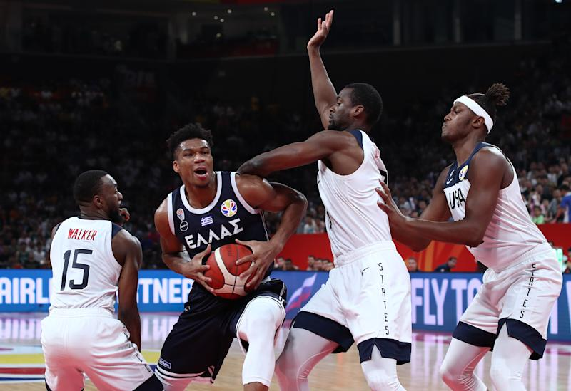 Basketball - FIBA World Cup - Second Round - Group K - United States v Greece - Shenzhen Bay Sports Center, Shenzhen, China - September 7, 2019 Greece's Giannis Antetokounmpo in action with Kemba Walker, Harrison Barnes and Myles Turner of the U.S. REUTERS/Athit Perawongmetha