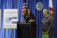 FILE - In this June 28, 2016, file photo, California Attorney General Kamala Harris, left, pays tribute to Mary Nichols, right, Chair of the California Air Resources Board, while announcing a settlement with Volkswagen during a news conference in San Francisco. Nichols' term leading the board ends in December 2020. She's held the role since 2007 after an earlier stint as chair in the early 1980s. (AP Photo/Eric Risberg, File)