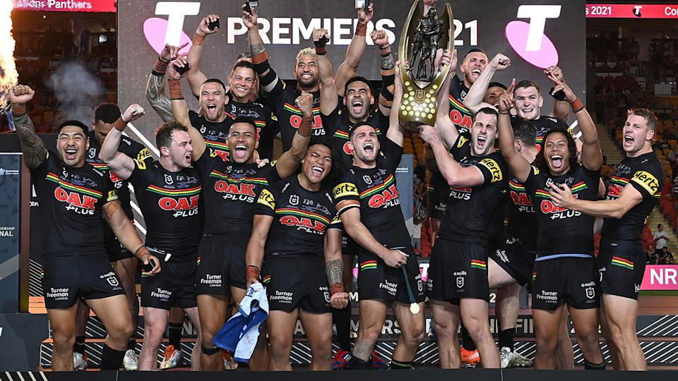 It's been an eventful week of celebrating for the Penrith Panthers, after they won the NRL premiership last weekend. (Photo by Bradley Kanaris/Getty Images)