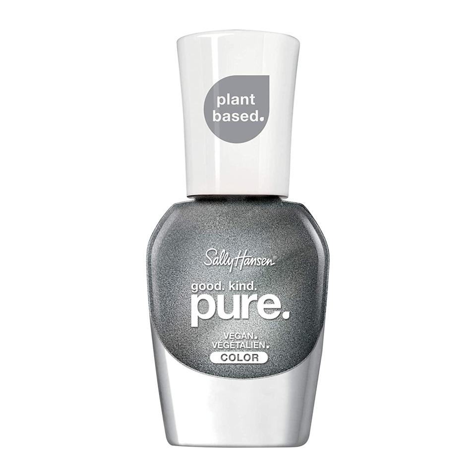 """Sally Hansen Good. Kind. Pure. Nail Color is — get this — a <em>16-free</em> formula. That means the brand wants you to know that ingredients you might have not even considered were in nail polish but may prefer to avoid — like bisphenol A and sulfates — are left out of its <a href=""""https://www.allure.com/story/sally-hansen-good-kind-pure-vegan-nail-polish?mbid=synd_yahoo_rss"""" rel=""""nofollow noopener"""" target=""""_blank"""" data-ylk=""""slk:cleanest lacquer ever"""" class=""""link rapid-noclick-resp"""">cleanest lacquer ever</a>. One of our favorites of the more than 25 shades? This metallic silver Meteorite."""