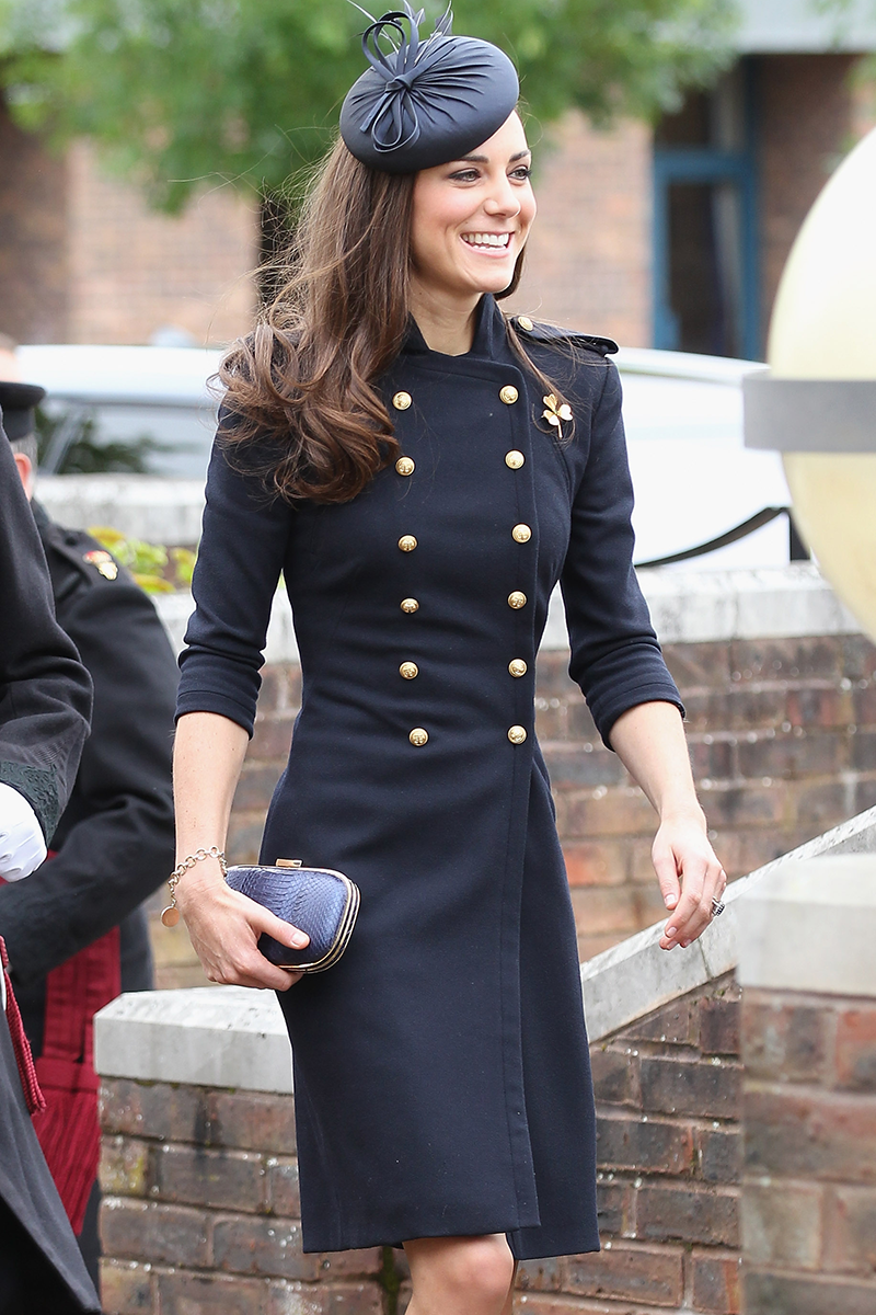 <p>Kate attended the The Irish Guards Medal Parade in Windsor wearing an outfit reminiscent of Diana's in June 2011.</p>