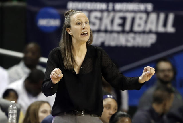 FILE - In this March 23, 2019, file photo, California head coach Lindsay Gottlieb instructs her team in the first half of a first round women's college basketball game in the NCAA Tournament, in Waco, Texas. The Cavaliers have hired former California coach Lindsay Gottlieb as an assistant on John Beilein's staff. Gottlieb joins Beilein's staff after serving eight years as the University of California, Berkeley women's basketball head coach, where she led the Golden Bears to a combined 179-89 (.668) record (86-58, .597 in Pac-12) since taking over the helm in 2011-12. (AP Photo/Tony Gutierrez, File)