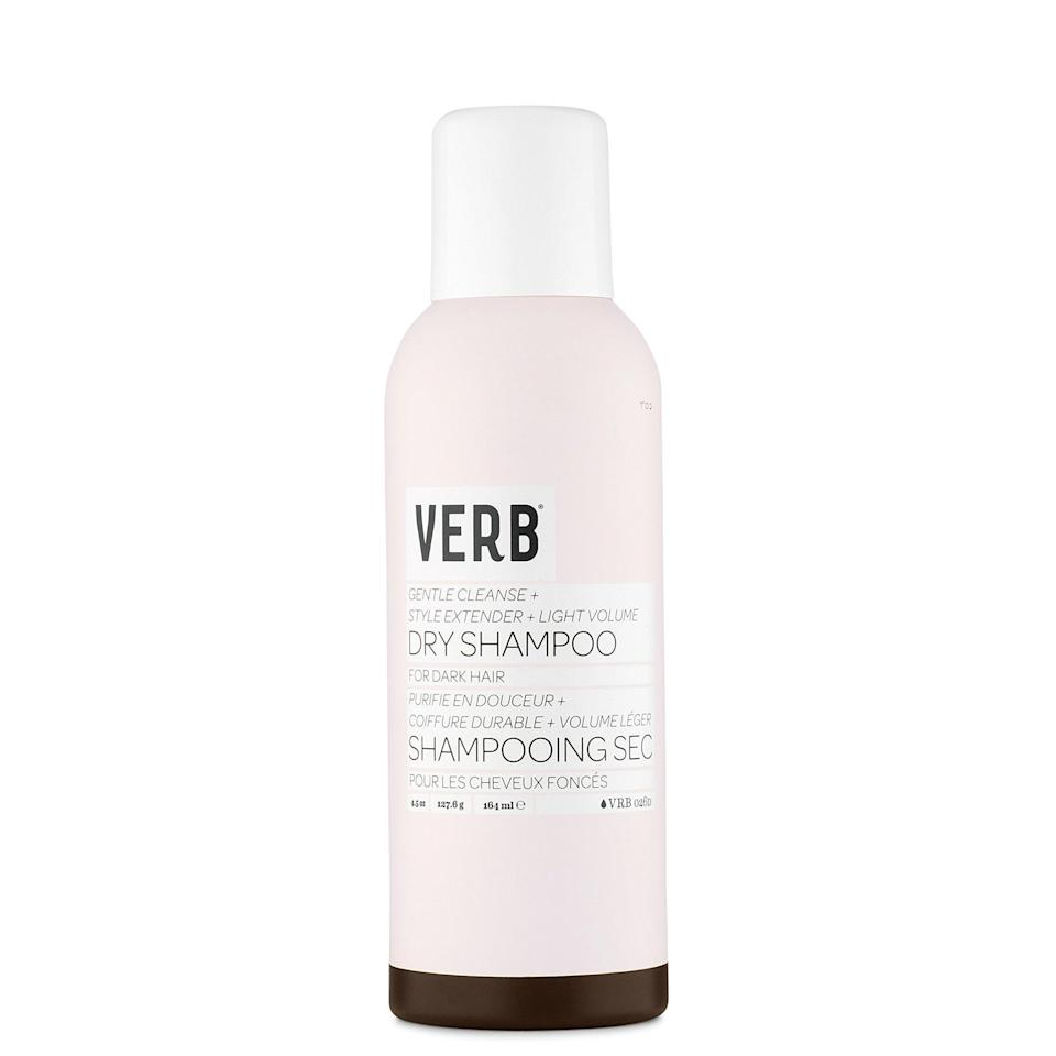 "Verb's Dry Shampoo for Dark Hair is virtually colorless, so it works on all hair hues. Once you spray it on, you'll notice how soft it makes your hair. That's thanks to the <a href=""https://www.allure.com/story/what-is-glycerin-skin-care-ingredient?mbid=synd_yahoo_rss"" rel=""nofollow noopener"" target=""_blank"" data-ylk=""slk:glycerin"" class=""link rapid-noclick-resp"">glycerin</a> in the formula, which adds moisture so that strands feel clean and not crunchy or sticky."