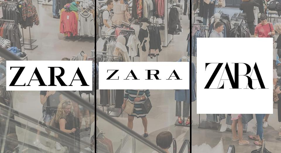 The Zara logo in its original form (left) compared to its 2011 (middle) and 2019 versions. [Photo: Getty/Zara]