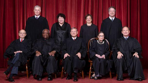 PHOTO: L-R,Justices Stephen G. Breyer and Clarence Thomas, Chief Justice John G. Roberts, Jr., and Justices Ruth Bader Ginsburg and Samuel A. Alito. Standing, L-R, Justices Neil M. Gorsuch, Sonia Sotomayor, Elena Kagan,and Brett M. Kavanaugh. (Supreme Court Of The United Stat/Fred Schilling/U.S. Supreme Court)
