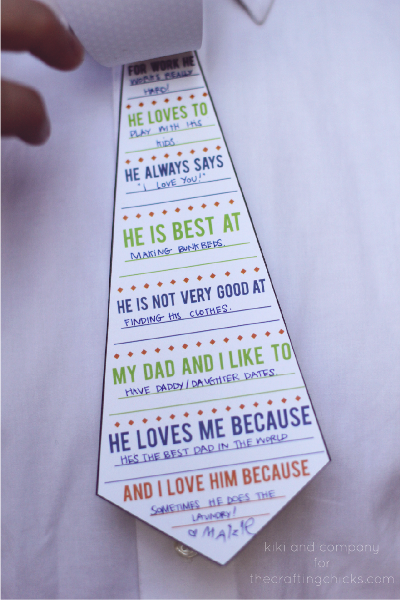 "<p>Get the kids involved by filling out this tie-shaped survey. You're guaranteed to get at least one funny answer ... and a few heartfelt ones, too. </p><p><em><a href=""http://kikicomin.com/daddy-ties-a-fathers-day-printable-card/"" rel=""nofollow noopener"" target=""_blank"" data-ylk=""slk:Get the tutorial from Kiki & Company »"" class=""link rapid-noclick-resp"">Get the tutorial from Kiki & Company »</a></em></p><p><strong>RELATED:</strong> <a href=""https://www.goodhousekeeping.com/holidays/fathers-day/g27244168/fathers-day-quotes-from-wife/"" rel=""nofollow noopener"" target=""_blank"" data-ylk=""slk:20 Father's Day Quotes From Wife to Husband for His Special Day"" class=""link rapid-noclick-resp"">20 Father's Day Quotes From Wife to Husband for His Special Day</a><br></p>"