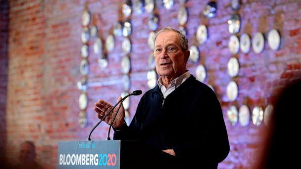PHOTO: 2020 Democratic presidential hopeful and former New York Mayor Michael Bloomberg speaks during an event to open a campaign office at Eastern Market in Detroit, Michigan, Dec. 21, 2019. (Jeff Kowalsky/AFP via Getty Images)