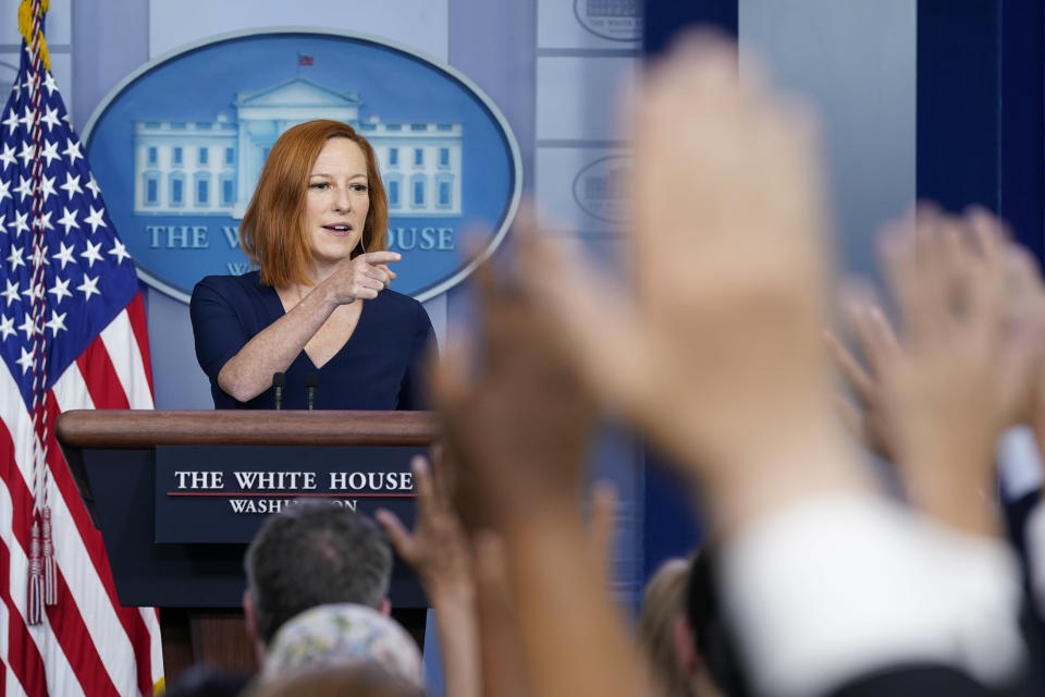 White House press secretary Jen Psaki takes questions from reporters during a press briefing at the White House, Friday, July 2, 2021, in Washington. (AP Photo/Patrick Semansky)