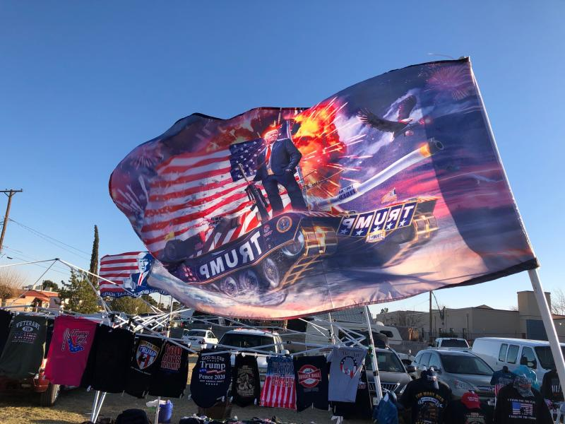 Trump merchandise for sale at the rally. (Christopher Mathias / HuffPost )