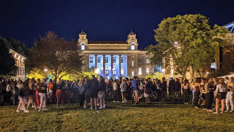 Suspensions were issued after students from Syracuse University were spotted gathering on campus on August 19 in New York