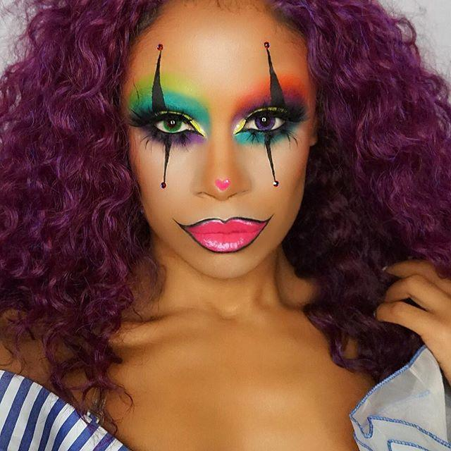 """<p>Clowns don't make me happy, but this makeup makes me happy. Riddle me that? It probably has everything to do with <strong>the perfectly blended <a href=""""https://go.redirectingat.com?id=74968X1596630&url=https%3A%2F%2Fwww.ulta.com%2Fneon-lights-pro-pressed-pigments-eyeshadow-palette%3FproductId%3Dpimprod2007136&sref=https%3A%2F%2Fwww.cosmopolitan.com%2Fstyle-beauty%2Fbeauty%2Fg33247158%2Fcute-clown-halloween-makeup-tutorials%2F"""" rel=""""nofollow noopener"""" target=""""_blank"""" data-ylk=""""slk:neon eyeshadow"""" class=""""link rapid-noclick-resp"""">neon eyeshadow</a>,</strong> <a href=""""https://go.redirectingat.com?id=74968X1596630&url=https%3A%2F%2Fwww.skinstore.com%2Fmdmflow-semi-matte-lipstick-3.8g-various-shades%2F11276677.html&sref=https%3A%2F%2Fwww.cosmopolitan.com%2Fstyle-beauty%2Fbeauty%2Fg33247158%2Fcute-clown-halloween-makeup-tutorials%2F"""" rel=""""nofollow noopener"""" target=""""_blank"""" data-ylk=""""slk:hot pink lipstick"""" class=""""link rapid-noclick-resp"""">hot pink lipstick</a>, and cute pink heart on the nose.</p><p><a href=""""https://www.instagram.com/p/BamhsBUAGhj/?utm_source=ig_embed&utm_campaign=loading"""" rel=""""nofollow noopener"""" target=""""_blank"""" data-ylk=""""slk:See the original post on Instagram"""" class=""""link rapid-noclick-resp"""">See the original post on Instagram</a></p>"""