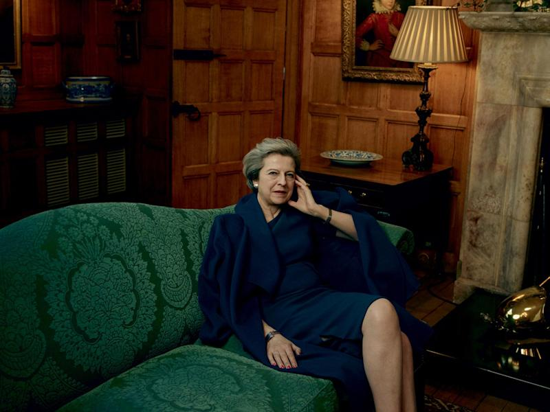 Theresa May, wearing an L.K.Bennett coat and dress as she was photographed by Annie Leibovitz for American Vogue: Annie Leibovitz/Vogue
