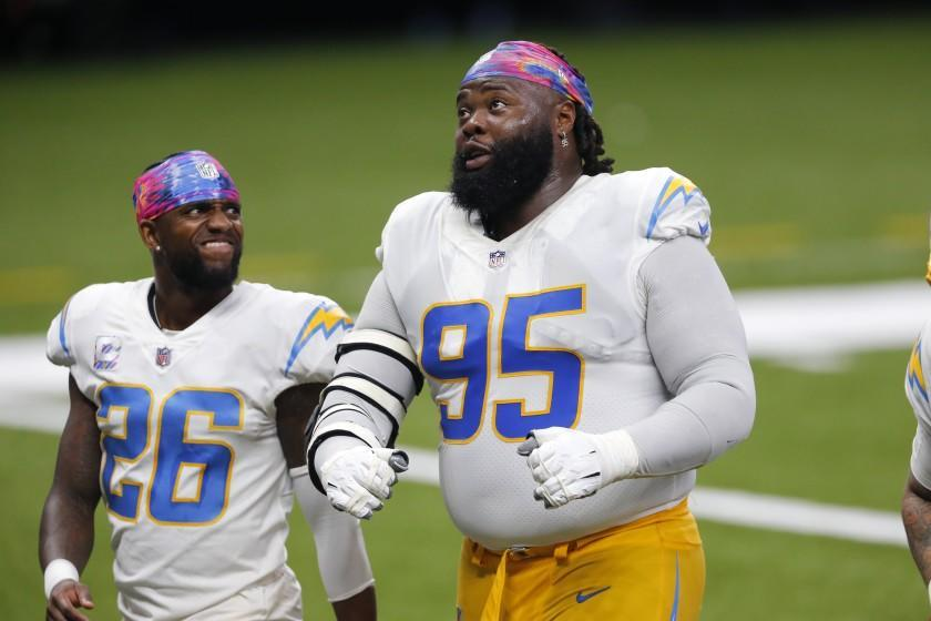 Los Angeles Chargers defensive tackle Linval Joseph (95) walks off the field at the end of the first half.