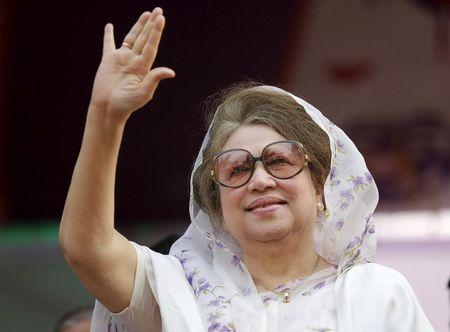 FILE PHOTO: File picture of Khaleda Zia waving to activists as she arrives for a rally in Dhaka