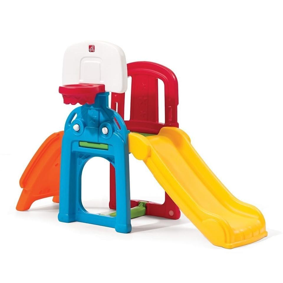 "<p>This <a href=""https://www.popsugar.com/buy/Step2-Game-Time-Sports-Climber-Slide-328739?p_name=Step2%20Game%20Time%20Sports%20Climber%20And%20Slide&retailer=amazon.com&pid=328739&price=100&evar1=moms%3Aus&evar9=25800161&evar98=https%3A%2F%2Fwww.popsugar.com%2Ffamily%2Fphoto-gallery%2F25800161%2Fimage%2F44870132%2FStep2-Game-Time-Sports-Climber-Slide&list1=gifts%2Choliday%2Cgift%20guide%2Cparenting%2Ckid%20shopping%2Choliday%20for%20kids%2Cgifts%20for%20toddlers%2Cbest%20of%202019&prop13=api&pdata=1"" rel=""nofollow"" data-shoppable-link=""1"" target=""_blank"" class=""ga-track"" data-ga-category=""Related"" data-ga-label=""https://www.amazon.com/Step2-Game-Sports-Climber-Slide/dp/B00QZ2OQ8E/ref=sr_1_17?s=toys-and-games&amp;ie=UTF8&amp;qid=1526575472&amp;sr=1-17&amp;keywords=outdoor+toys+for+toddlers"" data-ga-action=""In-Line Links"">Step2 Game Time Sports Climber And Slide</a> ($100) has everything. A basketball hoop, climbing station, and slide will ensure a very happy child.</p>"